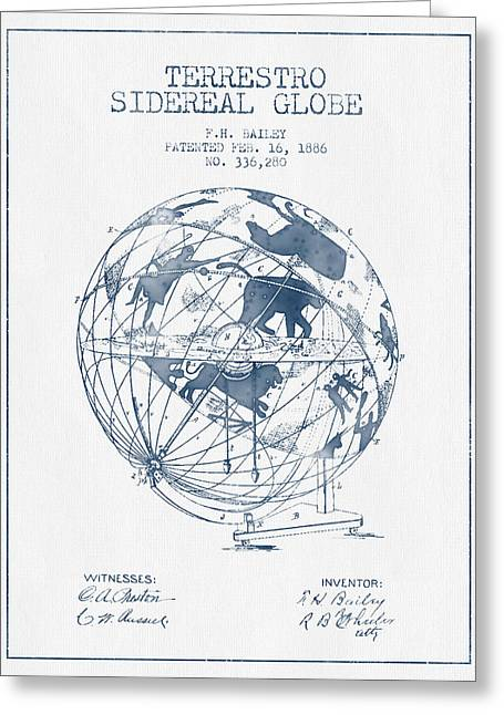 Continent Greeting Cards - Terrestro Sidereal Globe Patent From 1886- Blue Ink Greeting Card by Aged Pixel