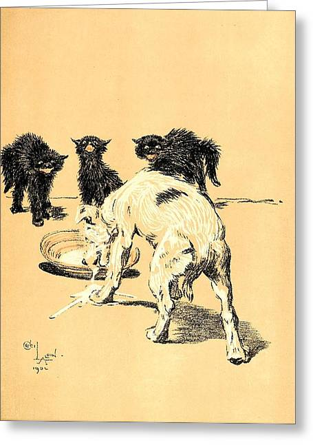 Kitten Prints Pastels Greeting Cards - Terrier Drinking the Kittens Milk - A Dog Day Collection 3 of 27 Greeting Card by Cecil Aldin
