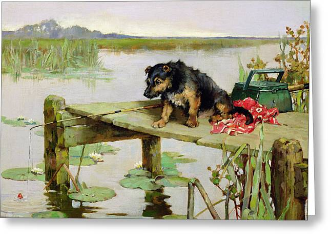 Calm Waiting Greeting Cards - Terrier - Fishing Greeting Card by Philip Eustace Stretton
