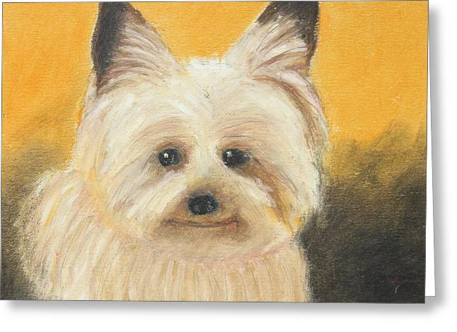 Expression Pastels Greeting Cards - Terrier Greeting Card by Jeanne Fischer