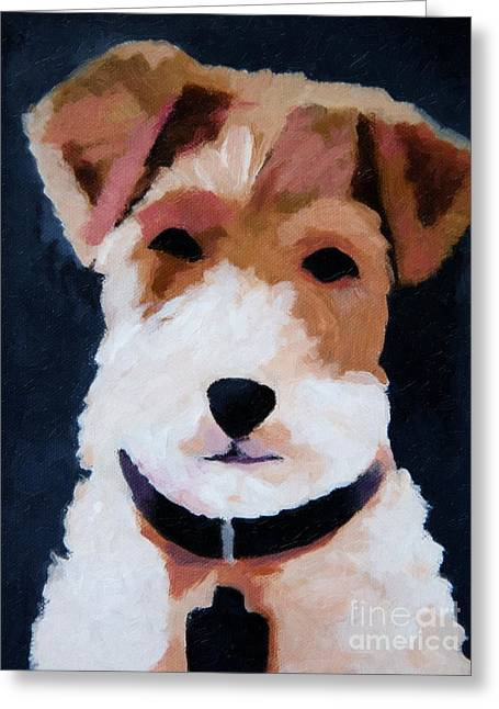 Dog Portraits Greeting Cards - Terrier Portrait Greeting Card by Lutz Baar