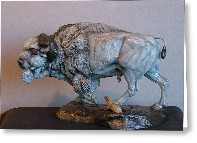 Bison Sculptures Greeting Cards - Territorial Dispute Greeting Card by Peggy Detmers