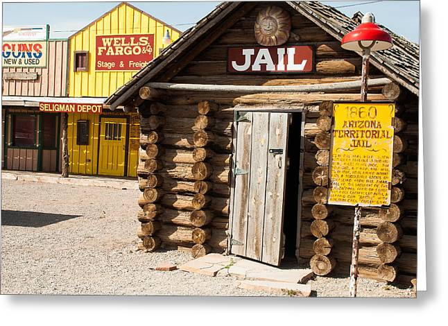 Geobob Greeting Cards - Territorial Jail Route 66 Seligman Arizona Greeting Card by Robert Ford