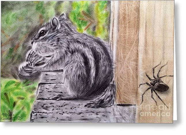 Web Pastels Greeting Cards - Territory of spider Greeting Card by Keiko Olds