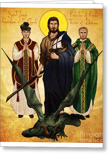 Saint Joseph Greeting Cards - Terror of Demons Greeting Card by Lawrence Klimecki
