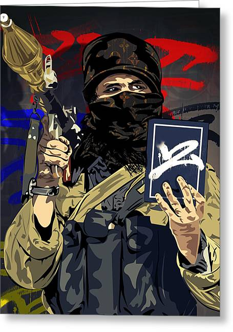Terrorist Mixed Media Greeting Cards - Terrorist Greeting Card by Tecnificent