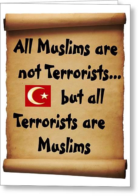 Terrorist Drawings Greeting Cards - Terrorists Greeting Card by Bern Hopkins