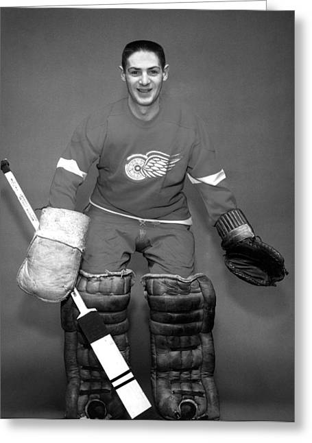 Goaltender Greeting Cards - Terry Sawchuk Portrait Poster Greeting Card by Gianfranco Weiss