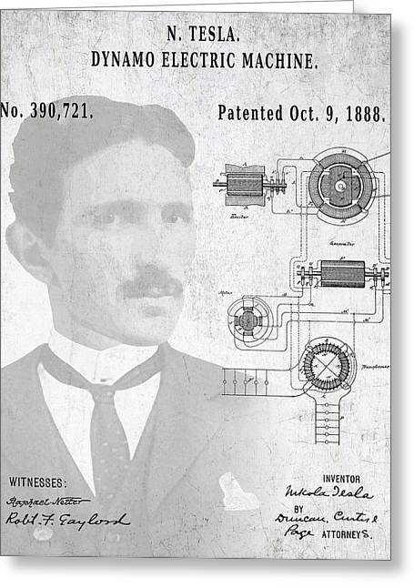 Electric Current Greeting Cards - Tesla A / C Current Patent Art 1888 Greeting Card by Daniel Hagerman