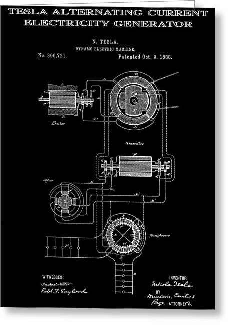 Electric Current Greeting Cards - Tesla Alternating Current 2 Patent Art 1888 Greeting Card by Daniel Hagerman