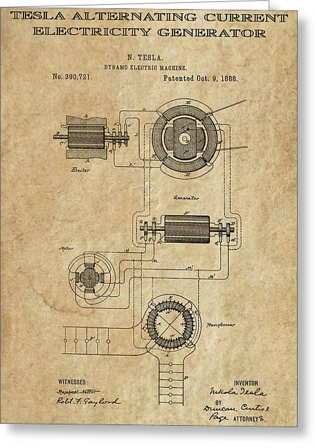 Historical Blueprint Greeting Cards - Tesla Alternating Current 3 Patent Art 1888 Greeting Card by Daniel Hagerman