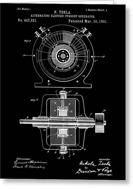 Electric Current Greeting Cards - Tesla Alternating Electric Current Generator Patent 1891 - Black Greeting Card by Stephen Younts