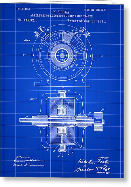 Capacitor Greeting Cards - Tesla Alternating Electric Current Generator Patent 1891 - Blue Greeting Card by Stephen Younts