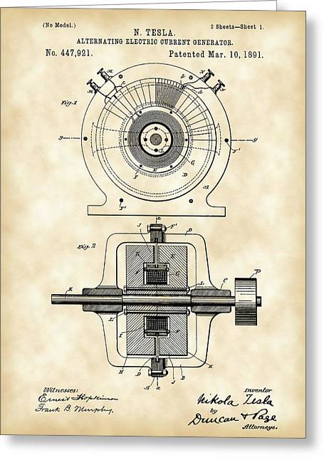 Capacitors Greeting Cards - Tesla Alternating Electric Current Generator Patent 1891 - Vintage Greeting Card by Stephen Younts