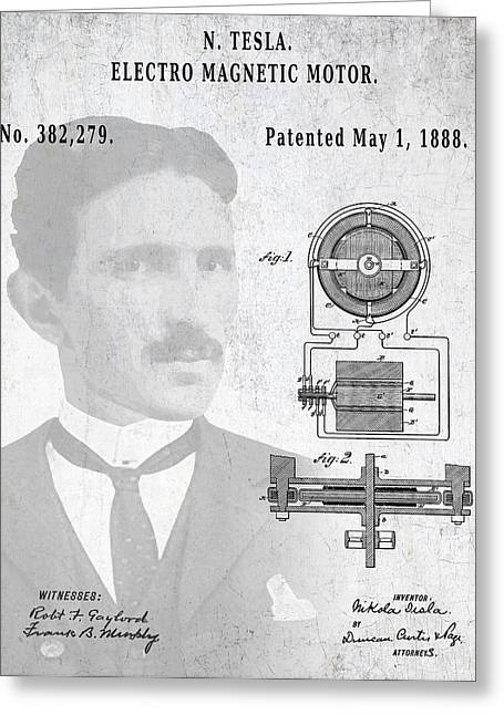 Electric Current Greeting Cards - TESLA and the ELECTRO MAGNETIC MOTOR PATENT Greeting Card by Daniel Hagerman