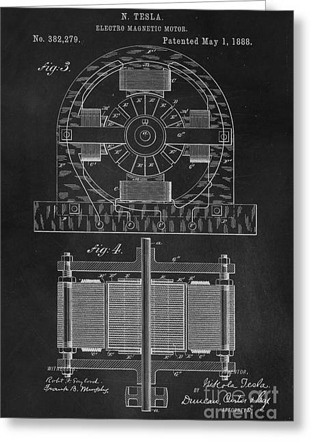 Coil Greeting Cards - Tesla Coil Patent Art Greeting Card by Edward Fielding