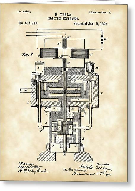 Capacitor Greeting Cards - Tesla Electric Generator Patent 1894 - Vintage Greeting Card by Stephen Younts