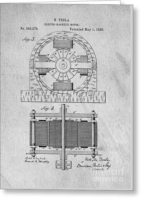 Patent Drawings Greeting Cards - Tesla Electro Magnetic Motor Patent 1888 Greeting Card by Edward Fielding