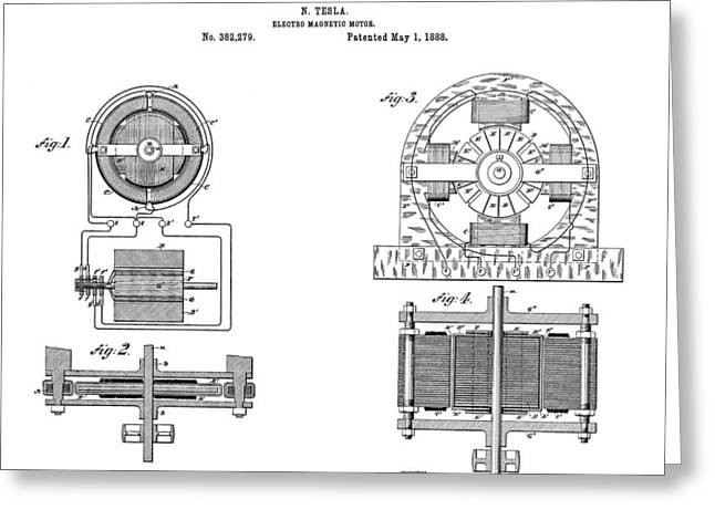 Electric Current Greeting Cards - Tesla Electro Magnetic Motor Patent Art  1888 Greeting Card by Daniel Hagerman