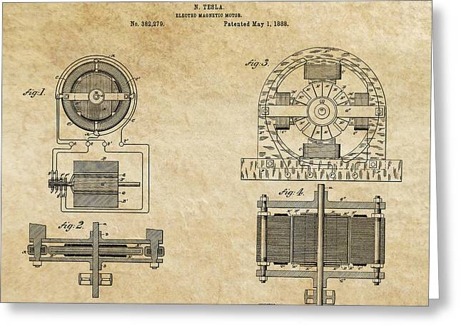 Electric Current Greeting Cards - Tesla Electro Magnetic Motor Patent Art Aged 1888 Greeting Card by Daniel Hagerman
