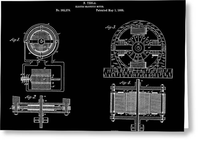 Electric Current Greeting Cards - Tesla Electro Magnetic Motor Patent Art Black 1888 Greeting Card by Daniel Hagerman