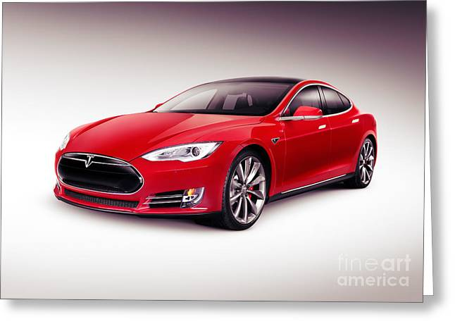 One Object Greeting Cards - Tesla Model S 2014 red luxury sedan electric car Greeting Card by Oleksiy Maksymenko