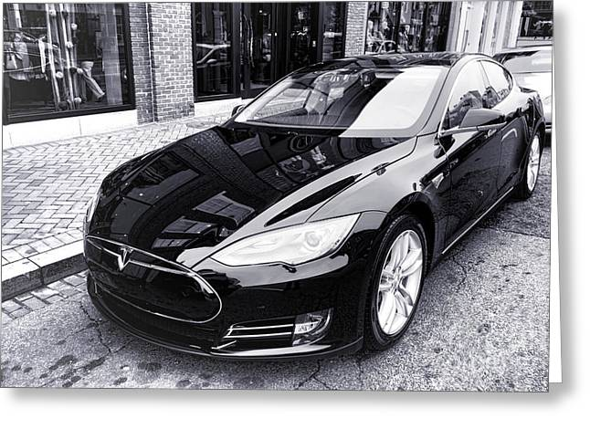 Model Photographs Greeting Cards - Tesla Model S Greeting Card by Olivier Le Queinec
