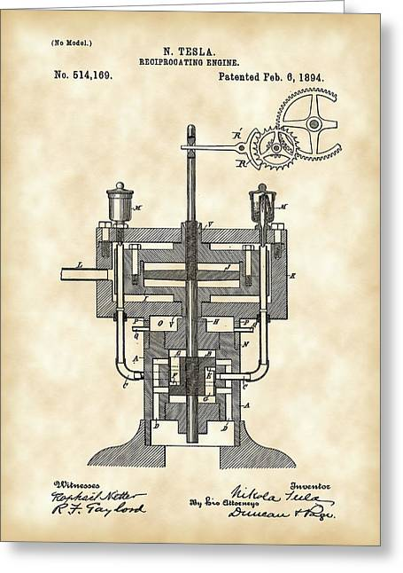Capacitors Greeting Cards - Tesla Reciprocating Engine Patent 1894 - Vintage Greeting Card by Stephen Younts