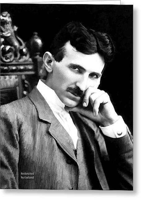 Electric Current Mixed Media Greeting Cards - Tesla The Father Of Modern Electricity  Greeting Card by Garland Johnson