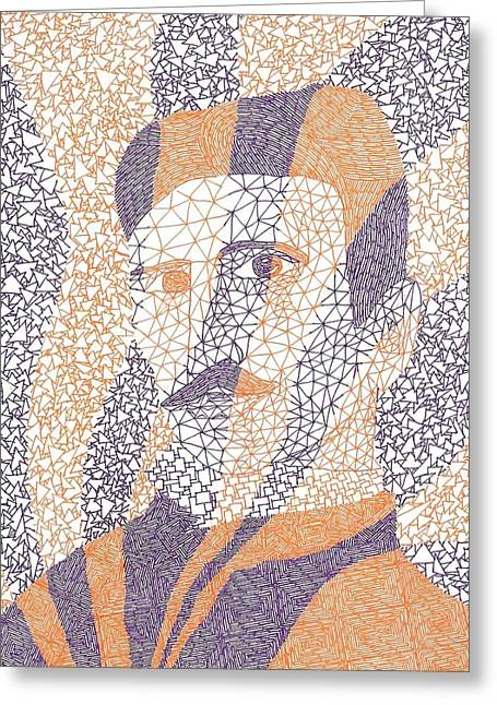 Headshot Drawings Greeting Cards - Tesla Tribute Greeting Card by William Burns