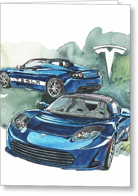 Electric Car Greeting Cards - Tesla Greeting Card by Yoshiharu Miyakawa