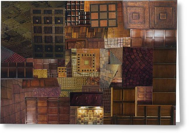 Geometrical Art Greeting Cards - Tesserae Secundus Greeting Card by Denise Mazzocco