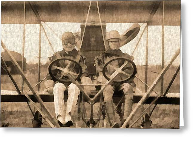 Airplane Mixed Media Greeting Cards - Test Of A Curtiss Plane 1912 Greeting Card by Dan Sproul