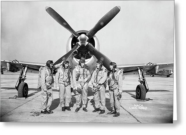Test Pilots And P-47 Thunderbolt Greeting Card by Nasa