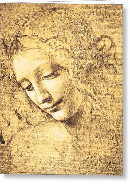 Gestures Greeting Cards - Testa di fanciulla detta la scapigliata Greeting Card by Leonardo Da Vinci