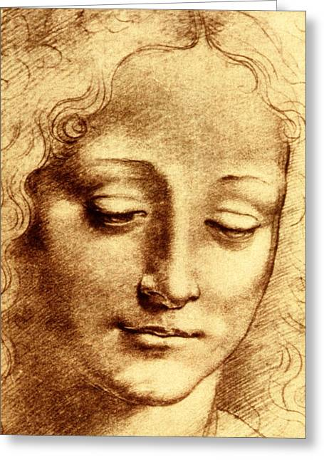 Gestures Greeting Cards - Testa di Giovinetta Greeting Card by Leonardo Da Vinci