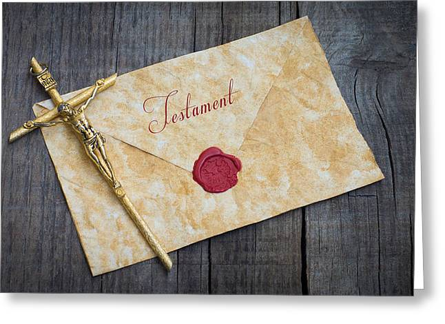 Funeral Greeting Cards - Testament Greeting Card by Aged Pixel