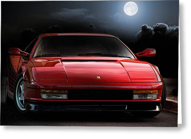 Ferrari Automobile Greeting Cards - Testarossa Moon Greeting Card by Peter Chilelli