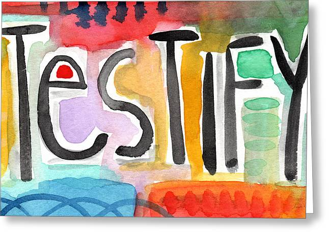 Testify- colorful pop art painting Greeting Card by Linda Woods