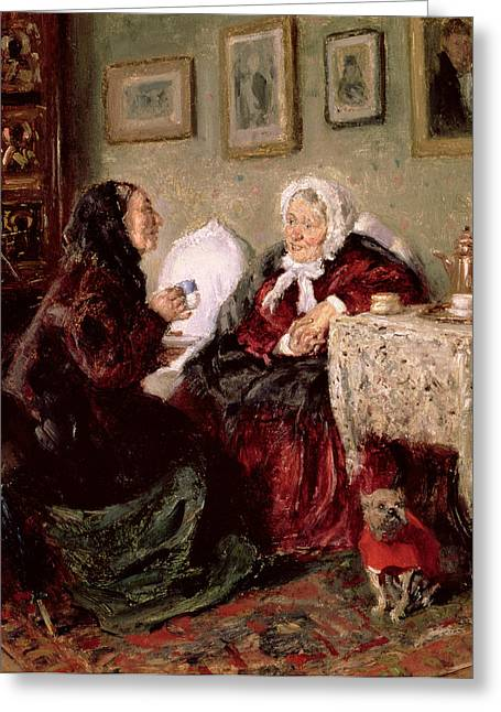 Woman Head Prints Greeting Cards - Tete a Tete Greeting Card by Vladimir Egorovic Makovsky