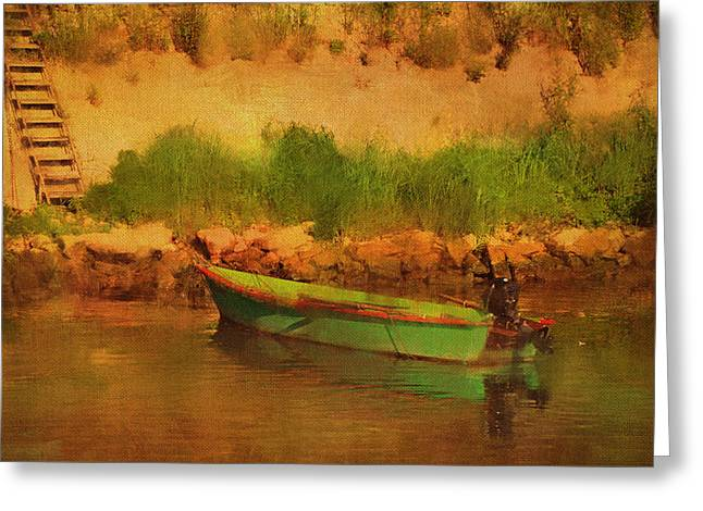 Tethered Boat By Riverbank Greeting Card by Carla Parris
