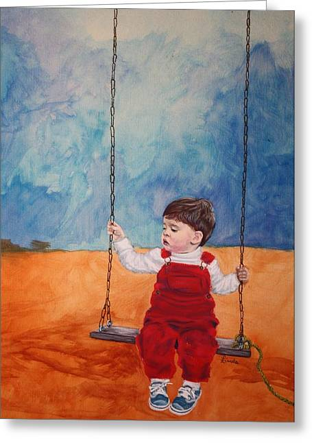 Overalls Pastels Greeting Cards - Tethered to Grandpa Greeting Card by Linda Eversole