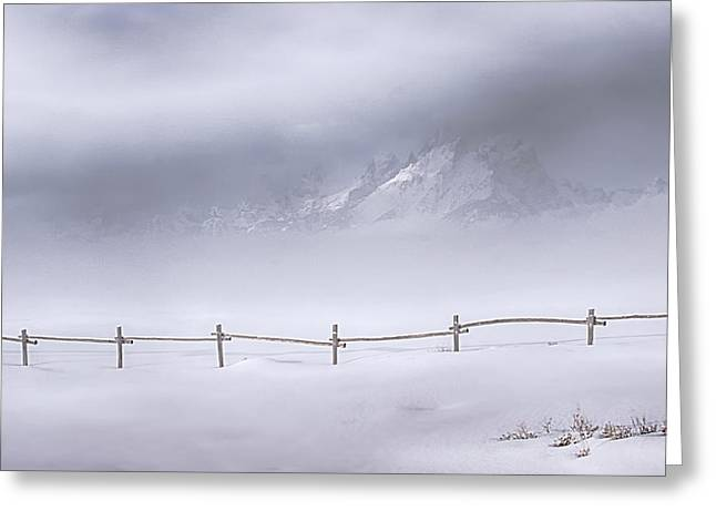 Snow Scene Landscape Greeting Cards - Teton Morning Greeting Card by Priscilla Burgers