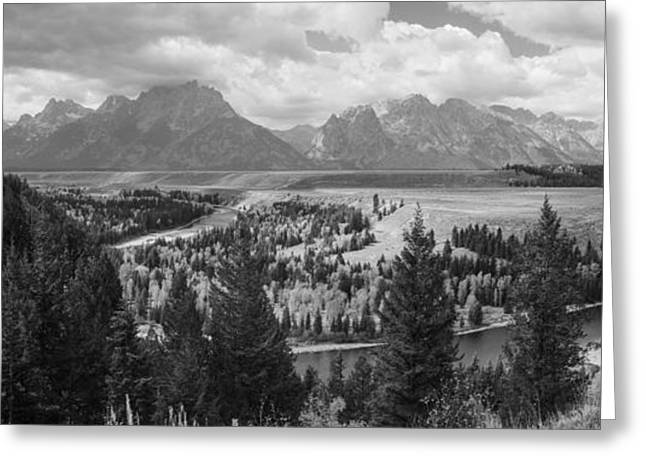 Overcast Day Greeting Cards - Teton Mountain Range Panorama Greeting Card by Vishwanath Bhat