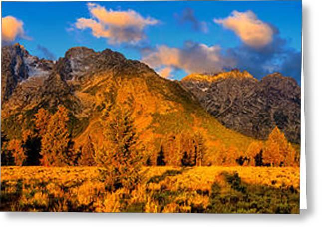 Tetons Greeting Cards - Teton Mountain View Panorama Greeting Card by Greg Norrell