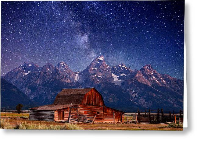 White Barns Greeting Cards - Teton Nights Greeting Card by Darren  White