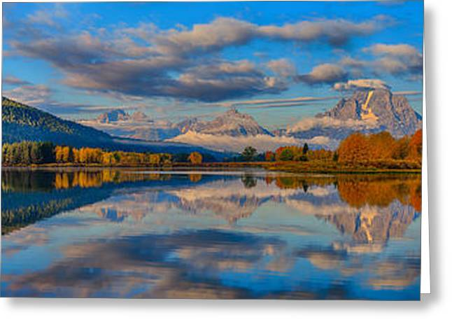Grand Tetons Greeting Cards - Teton Panoramic Reflections at Oxbow Bend Greeting Card by Greg Norrell