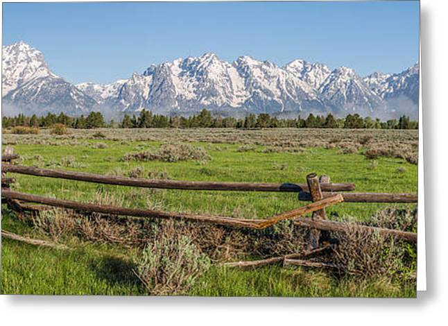 Taking Photographs Greeting Cards - Teton Range Panorama Greeting Card by Aaron Spong