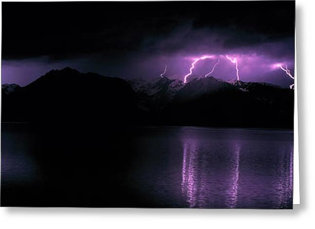 Lightning Photography Photographs Greeting Cards - Teton Range Wlightning Grand Teton Greeting Card by Panoramic Images