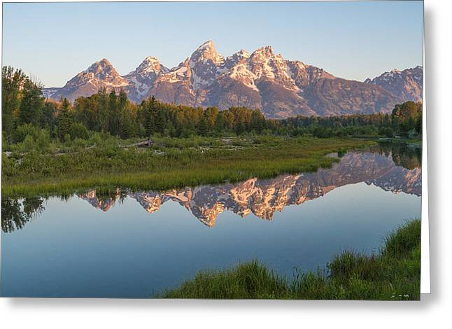 Teton Reflecting Greeting Card by Kristopher Schoenleber